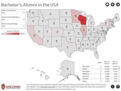 screenshot of the Bachelor's Alumni in the USA visualization